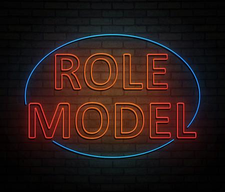 역할 모델 개념 조명 된 네온 사인을 묘사 한 3d 일러스트 레이 션. 스톡 콘텐츠