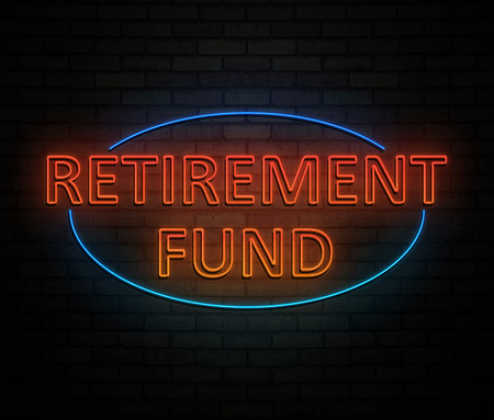 3d Illustration depicting an illuminated neon sign with a retirement fund concept.