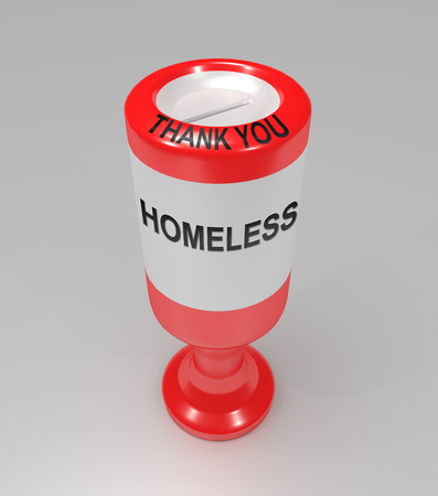 3d illustration depicting a plastic charity collection container with a homeless concept