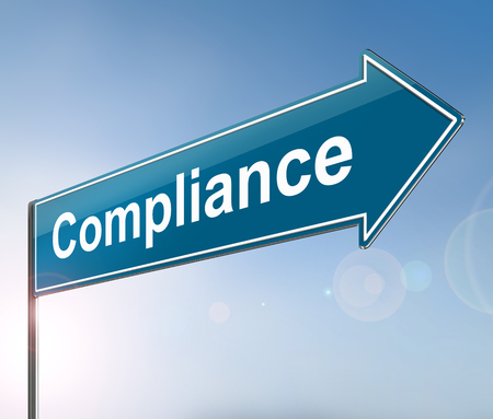 3d Illustration depicting a sign with a compliance concept. Stock Photo