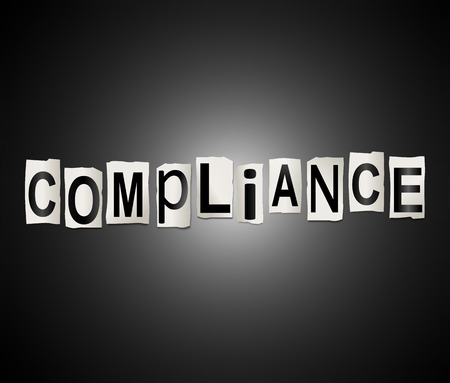 3d Illustration depicting a set of cut out printed letters arranged to form the word compliance. Stock Photo
