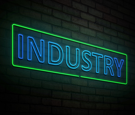 3d Illustration depicting an illuminated neon sign with an industry concept.