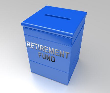 3d Illustration depicting a blue money box with a retirement fund concept.