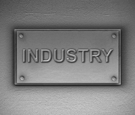 3d Illustration depicting a metallic plaque with an industry concept.
