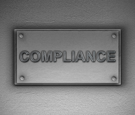 3d Illustration depicting a metallic plaque with a compliance concept.