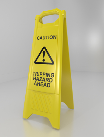 3d illustration depicting a yellow floor warning sign with a tripping hazard concept.