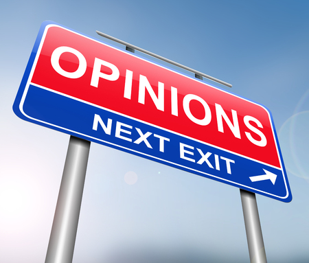 3d Illustration depicting a sign with an opinions concept.
