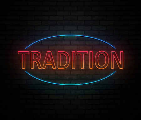 3d Illustration depicting an illuminated neon sign with a tradition concept.