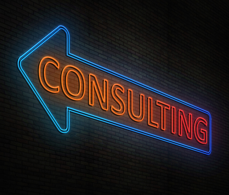 3d Illustration depicting an illuminated neon sign with a consulting concept. Stock Photo