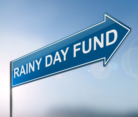 3d Illustration depicting a sign with a rainy day fund concept. Фото со стока