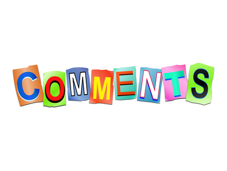 3d illustration depicting a set of cut out printed letters arranged to form the word comments. Stock Photo