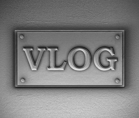 3d Illustration depicting a metallic plaque with a vlog concept.