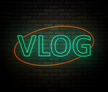 3d Illustration depicting an illuminated neon sign with a vlog concept. Imagens