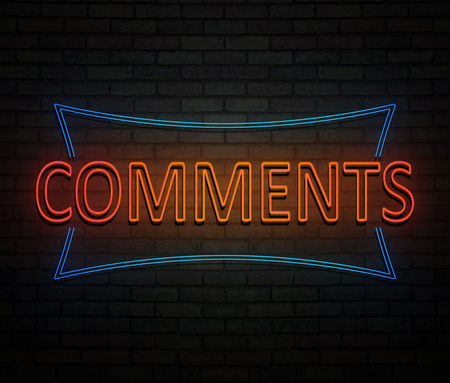 3d Illustration depicting an illuminated neon sign with a comments concept. Фото со стока