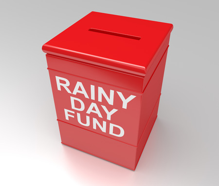 3d Illustration depicting a red money box with a rainy day fund concept.