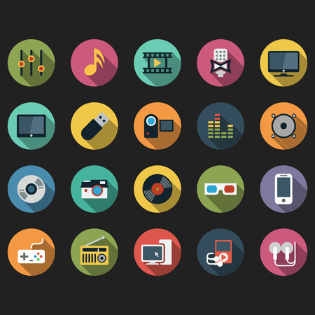 audio video: Modern flat icons vector collection with long shadow effect in stylish colors of different multimedia objects, audio and video items and objects.