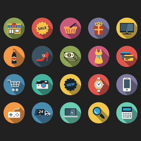 e commerce icon: Modern flat icons vector collection with long shadow effect in stylish colors of different shopping objects and items. Illustration