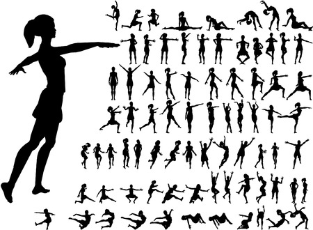 modern dancers: 79 women silhouettes Illustration