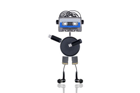 the robot consists of audiotapes and multiple gadgets isolated on white background indicates the direction with his hand