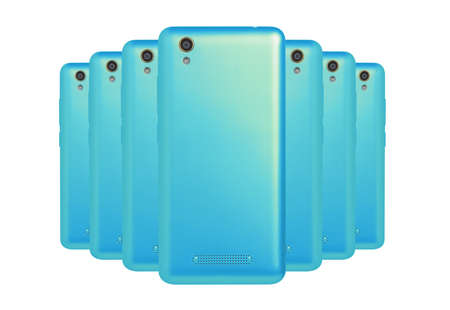 led lighting: a number of phones cyan color