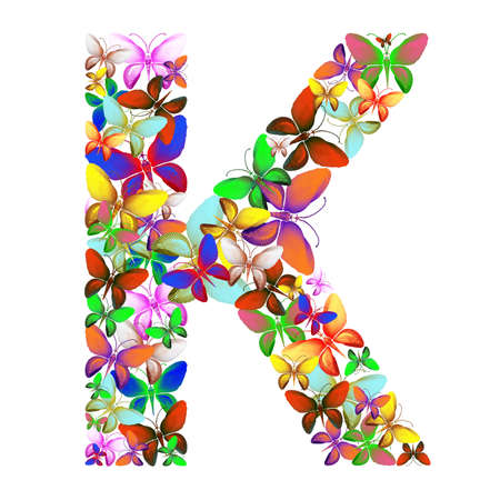 Butterflies of different colors, made of sea shells isolated on a white background stacked in the form of letters K