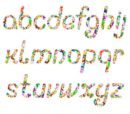 colorful English alphabet of butterflies of different colors
