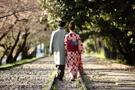 Traditional japanese couple walking on a cherry tree-lined track Imagens