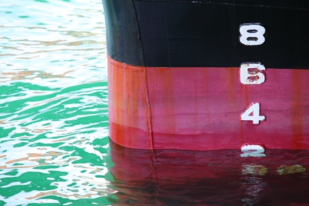 Water depth gauge detail of a swimming ship hull Stock Photo - 22038811