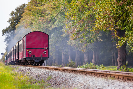 caboose: Back of a steam train with a red rail car at the end on a track through beautiful landscape