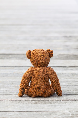 plushie: Back of a brown teddy bear sitting at wooden planks Stock Photo