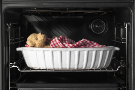 roosting: A teddy bear sleeping in a casserole dish inside a baking oven Stock Photo