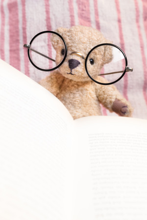 vintage teddy bears: Teddy bear with huge vintage glasses reads a book in front of pink striped textile background (copy space)