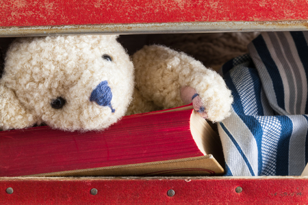to beckon: Opened vintage suitcase with travel things inside: book with red pages and nostalgic striped pajama and cute toy bear who takes a look out