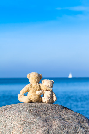 friend hug: Two teddy bears sitting at the top of a large stone with blue sea background and a white sail at the distant horizon copy space