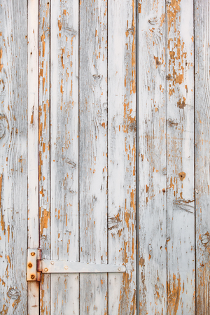 Shabby chic white wooden plank door with rusty hinge and flaking paint (copy space) Stock Photo