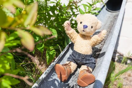 Little rascal teddy enjoy life by slide down at open rainwater pipe
