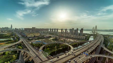 sunset in Yangtze River Bridge