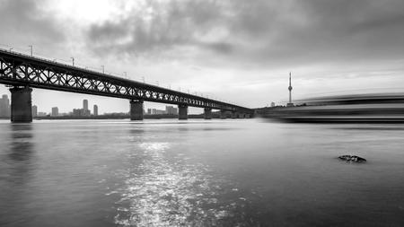 wuhan: Wuhan Yangtze River Bridge Stock Photo