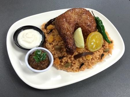 arabian food: Food model of Kabsa, an Arabian Chicken Rice Dish