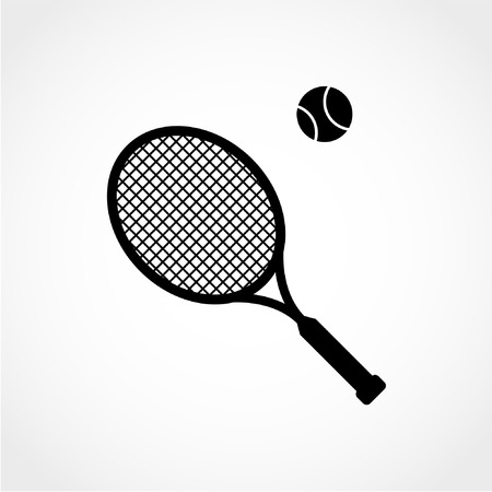 tennis: Sport symbol. Tennis racket with ball sign Icon Isolated on White Background
