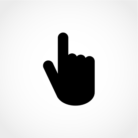 press button: Press button. Click here hand sign Icon Isolated on White Background Illustration
