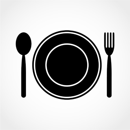 dinning table: Fork spoon dish Icon Isolated on White Background Illustration