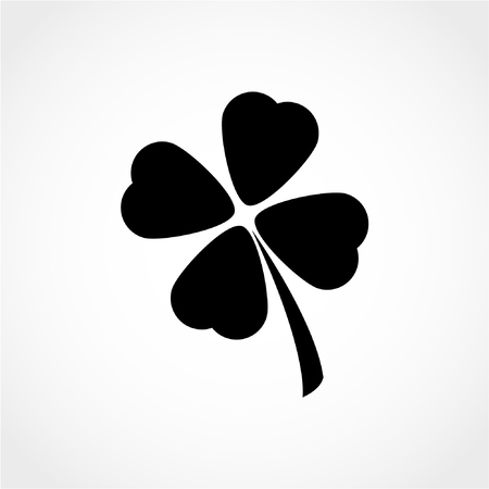 Saint Patrick symbol. Clover with four leaves sign Icon Isolated on White Background 向量圖像