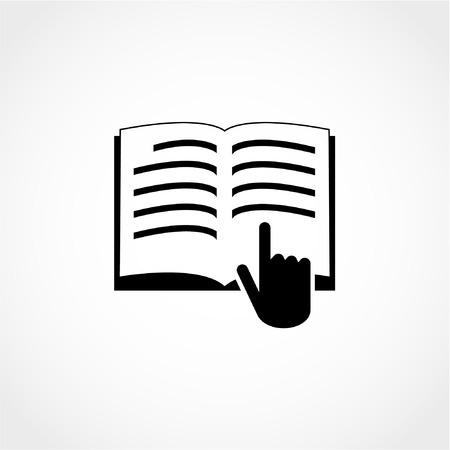 マニュアル本のシンボル。使用する前に読みます。命令記号アイコン白背景に分離  イラスト・ベクター素材