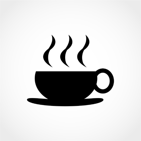 Hot coffee button. Hot tea drink with steam. Coffee cup sign Icon Isolated on White Background 向量圖像