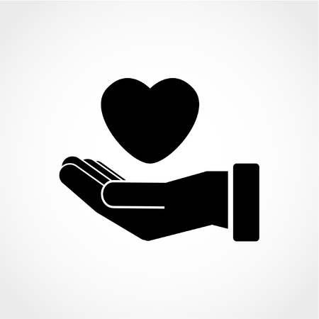 Heart in hand Icon Isolated on White Background