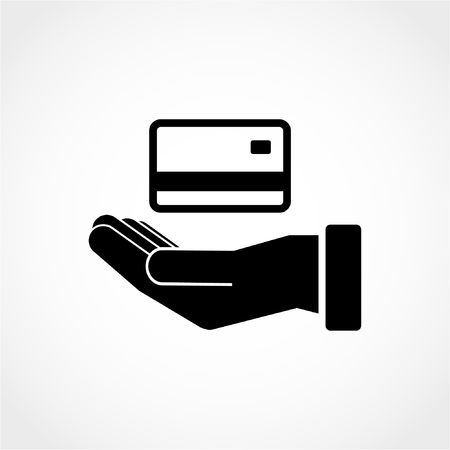 Credit card in hand Icon Isolated on White Background