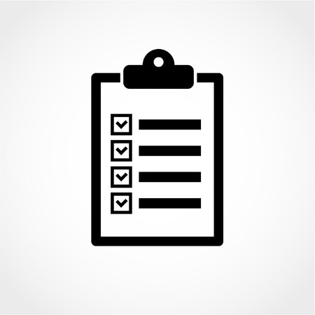 clipboard: Checklist Icon Isolated on White Background