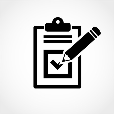 filling folder: Checklist pencil Icon Isolated on White Background Illustration