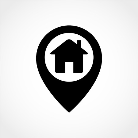 Map pointer house Icon Isolated on White Background 向量圖像